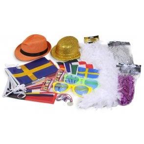 Union Jack Wear Eurovision Party Kit - Bunting, Hats, Wigs, Boa etc