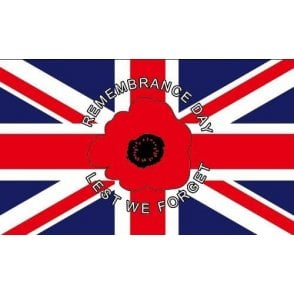 "Union Jack Wear Union Jack Poppy Flag 5' x 3' ""Remembrance Day - Lest we forget"""