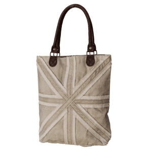 Union Jack Wear Canvas Beige Union Jack Shopping Bag - Up-Cycled so each is Unique