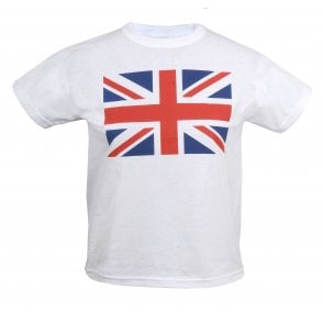 Union Jack Wear Kids Union Jack T-Shirt in White. Boys or Girls