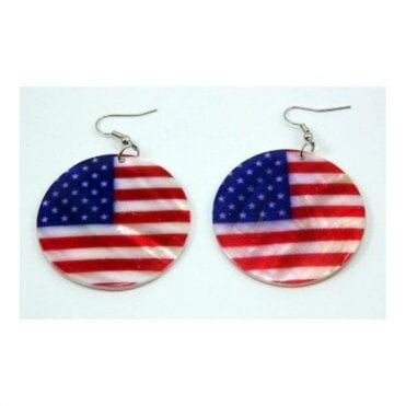 USA Shell Earrings - Stars & Stripes American Flag