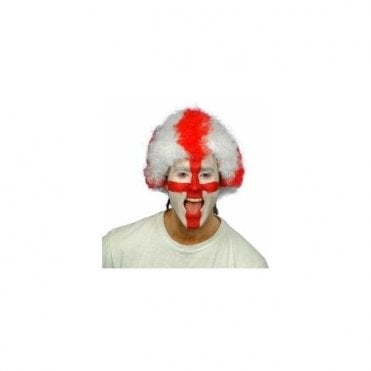 England St George Supporters Wig - Afro Football Wig