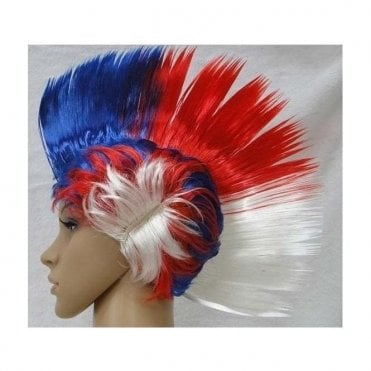 Red White and Blue Mohawk Wig 'The British Wig' Fancy Dress