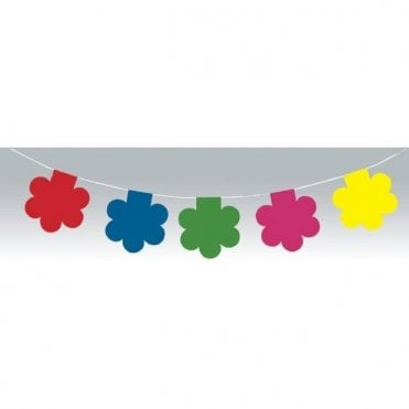 Multi Coloured Flower Power 60's Style Bunting 10m