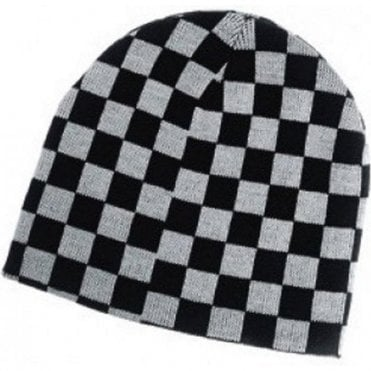 Black and White Checkered Ska, Two Tone Beanie Hat