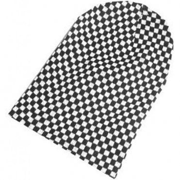 Black and White Checkered Slouch Ska, Two Tone  Beanie Hat