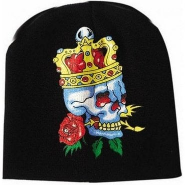 English Red Rose Royal Skull Beanie hat