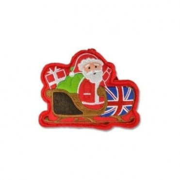 Union Jack Felt Santa Sleigh Christmas Tree Decoration