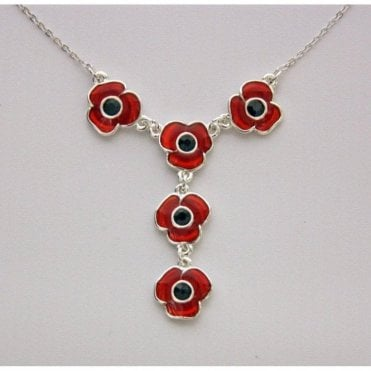 Designer Poppy Necklace 5 poppies - 18 Inch