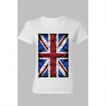 Ladies Rose Design Union Jack T shirt White