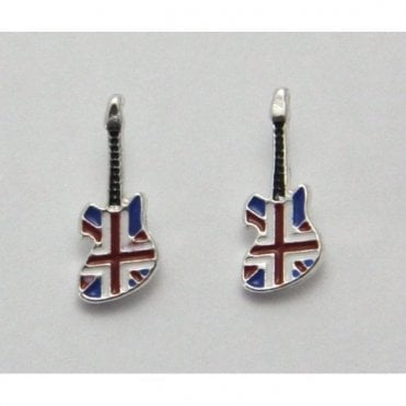 Union Jack Rock Guitar Earrings