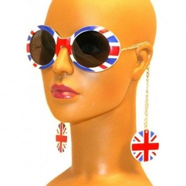 Union Jack Earring Chain sunglasses