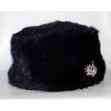 HRH Queen Elizabeth II Sapphire Jubilee Navy Blue Faux Fur Hat with Crown Brooch