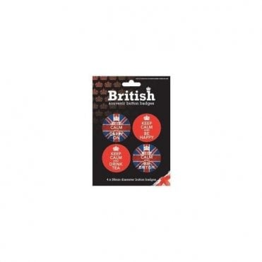 Keep Calm Union Jack Badge Set