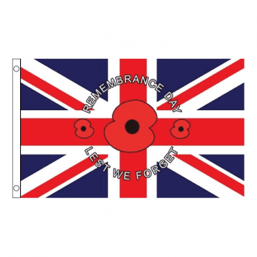 "Union Jack Poppy Flag 5' x 3' ""Remembrance Day - Lest we forget"""
