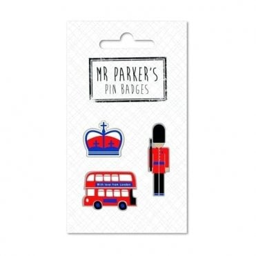 Mr Parker's Pin Badges London Bus, Crown & Beefeater
