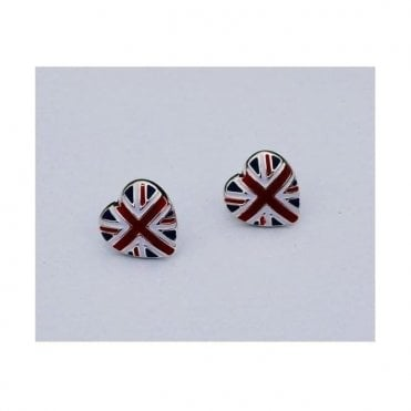 Union Jack Heart Earrings - Silver