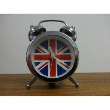 Union Jack Glitter & Chrome Travel Alarm Clock
