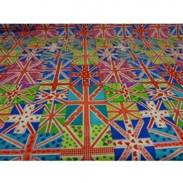 Multicoloured Union Jack Cotton Fabric