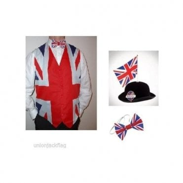 Union Jack Flag Waistcoat, Bow tie and Great British Bowler with Flag