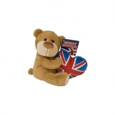 "Soft Teddy with Union Jack Heart. 8"" Tall"