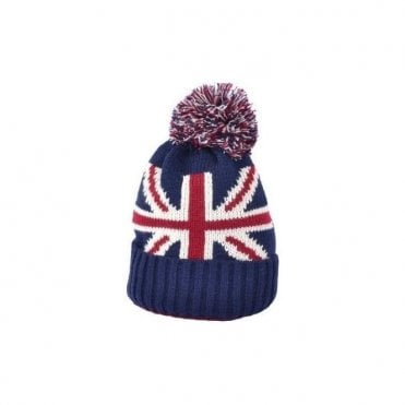 Union Jack Pom Pom Beanie Bobble Hat