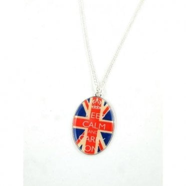 Union Jack Pendant Necklace Keep Calm and Carry On