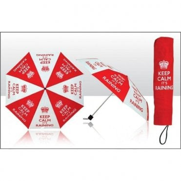 Keep Calm It's Raining Umbrella Red and White print Umbrella with Crest / Crown