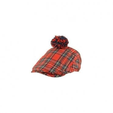 Scottish Red Tartan Pom Flat Cap