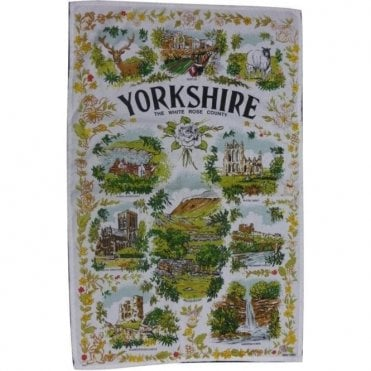 Yorkshire White Rose County Tea Towel