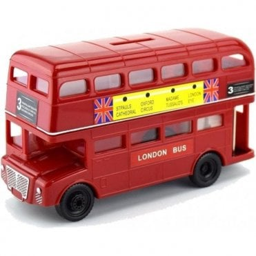 Large London Red Bus Money Box 17cm
