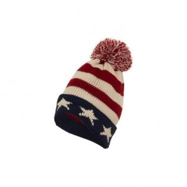 USA Stars and Stripes knitted Pom Pom Bobble Hat