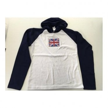 Ladies Hooded Top Sparkle Union Jack Long Sleeve