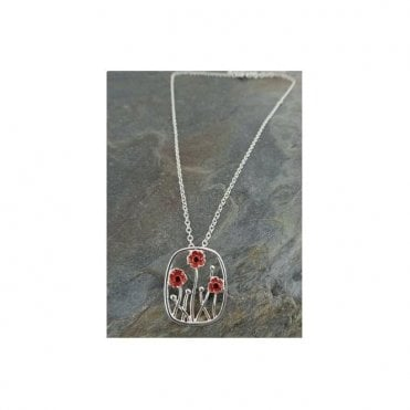 Poppy Pendant 3 poppies on 45cm Silver Finish chain necklace