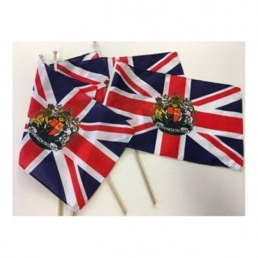 Four Union Jack Crest Hand flags on 2ft poles
