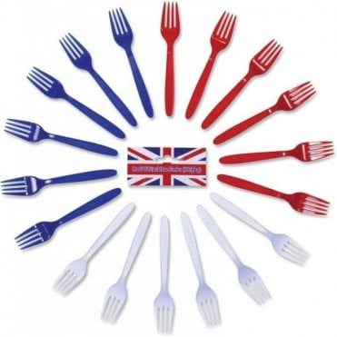 Red White & Blue Forks. Pack of 18 Plastic Forks