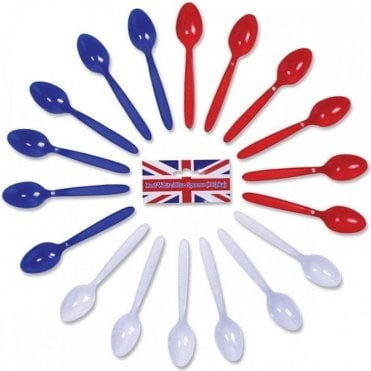 Red White & Blue Spoons. Pack of 18 Plastic Spoons