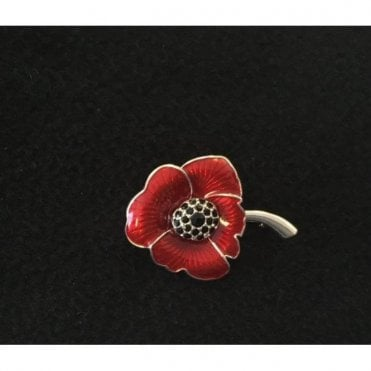 Poppy Brooch Enameled Silver finish