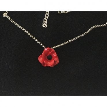 Poppy Necklace. Single small poppy matt
