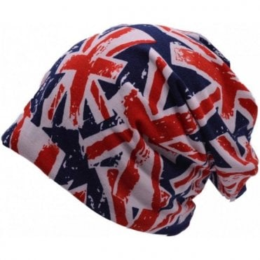 Union Jack Bright Slouch Beanie Hat