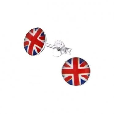 Union Jack Sterling Silver Round Earings - Studs