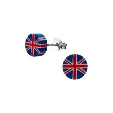 Union Jack Sterling Silver & Plastic Ear Studs - Earings