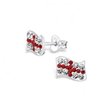 Union Jack Sterling Silver ENGLAND St George Cross Crystal Studs - Earings
