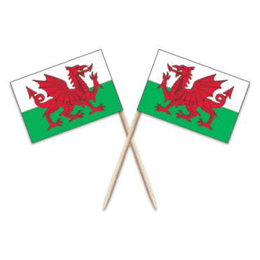 Wales Dragon Flag Party picks - pack of 100