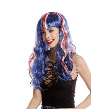 Ladies Red And White Bob Wig England Football Supporters English Fancy Dress