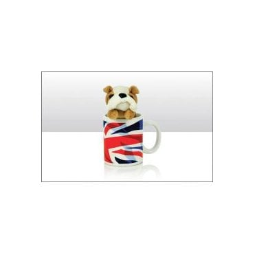 Union Jack Mug with Bulldog Soft Toy