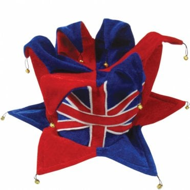Union Jack Jester Hat - With Bells top and bottom