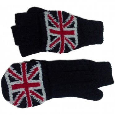 Union Jack Fingerless Glove Mittens Plain Hand
