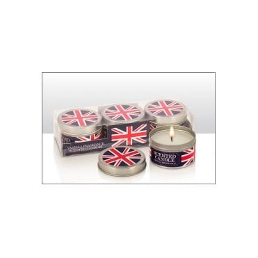 Union Jack Vanilla Scented Tin Candles - Set of Three