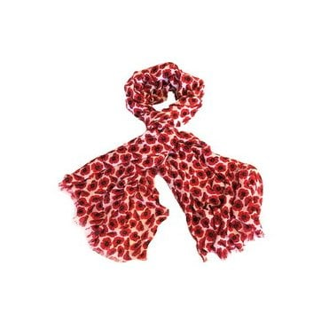 White & Red Poppy Scarf - Small Poppies